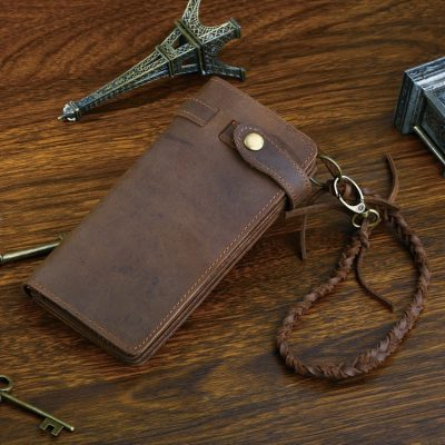 Leather Biker Wallet Card Holder Purse-Front