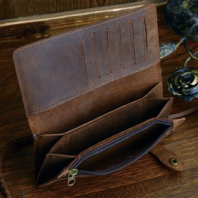 Leather Biker Wallet Card Holder Purse-Zipper