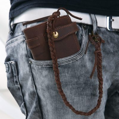 Leather Long Biker Wallet Organizer Leather Chain