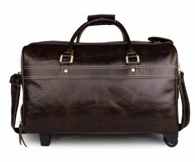 Leather Trolley Duffle Travel Bag-Back