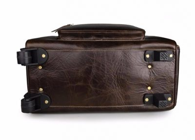 Leather Trolley Duffle Travel Bag-Bottom