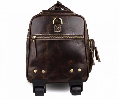 Leather Trolley Duffle Travel Bag-Zipper