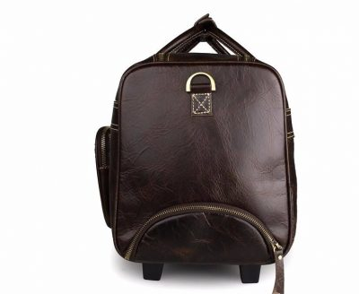 Leather Trolley Duffle Travel Bag-Zippers