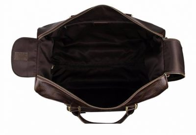 Leather Trolley Duffle Travel Bag-inside
