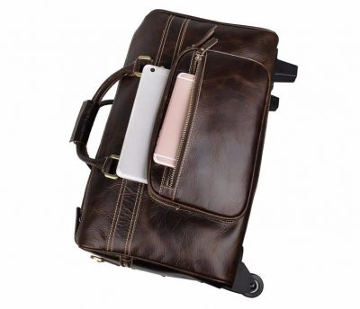 Leather Trolley Duffle Travel Bag-pockets
