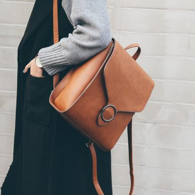Leather bag brown color