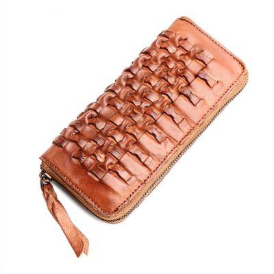 Long Vegetable Tanned Leather Purse