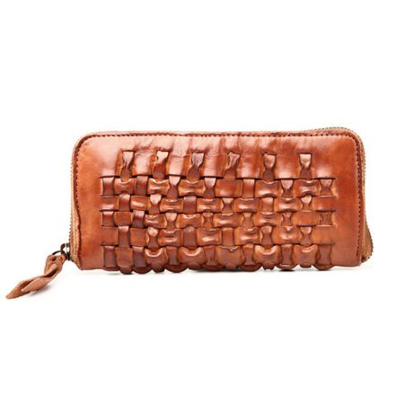 Long Vegetable Tanned Leather Purse-Front