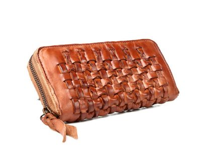 Long Vegetable Tanned Leather Purse-Top