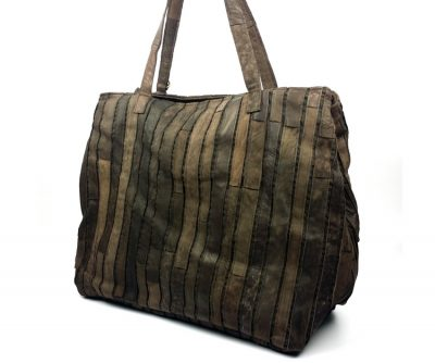 Mosaic Leather Handbag-Side