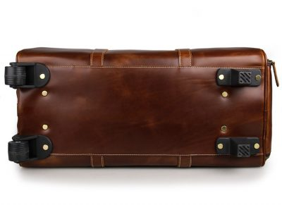 Noble Leather Trolley Travel Bag-Bottom