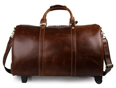 Noble Leather Trolley Travel Bag-Front