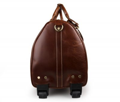 Noble Leather Trolley Travel Bag-Side Bottom