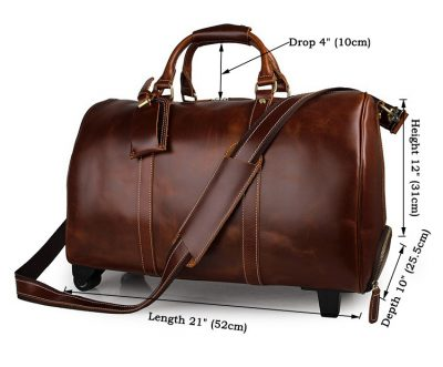Noble Leather Trolley Travel Bag-Size