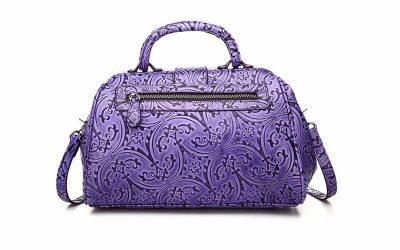 Purple embossed leather handbag-Back