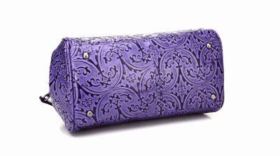 Purple embossed leather handbag-Bottom