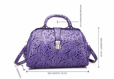 Purple embossed leather handbag-Size