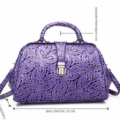 Purple embossed leather handbag-Size