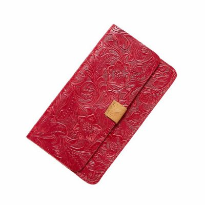 Red Embossed Flowers Long Leather Purse Clutch Coin Purse Card Holder