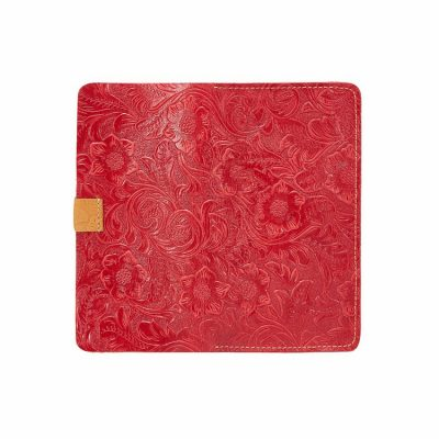 Red Embossed Flowers Long Leather Purse Clutch Coin Purse Card Holder-Back