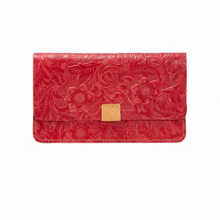 Red Embossed Flowers Long Leather Purse Clutch Coin Purse Card Holder-Front