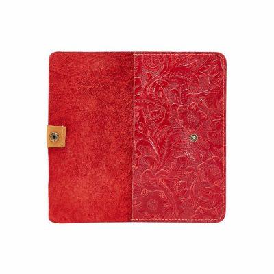 Red Embossed Flowers Long Leather Purse Clutch Coin Purse Card Holder-Inside