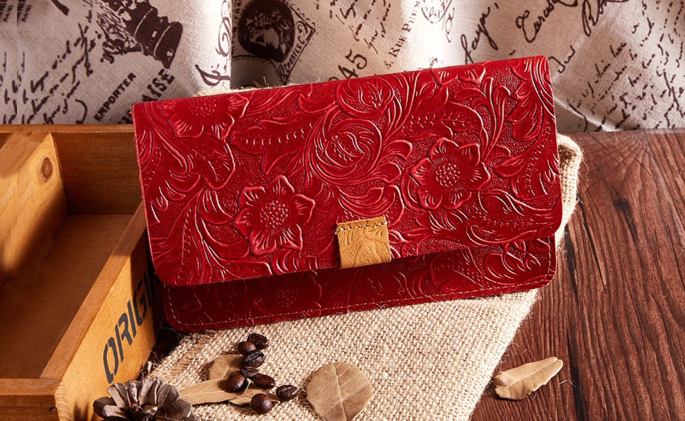 Red Embossed Flowers Long Leather Purse Clutch Coin Purse