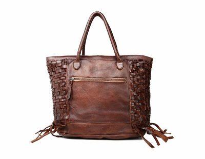 Vegetable Tanned Leather Handbag-Back