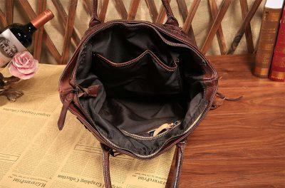 Vegetable Tanned Leather Handbag-Inside