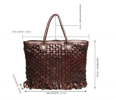 Vegetable Tanned Leather Handbag-Size