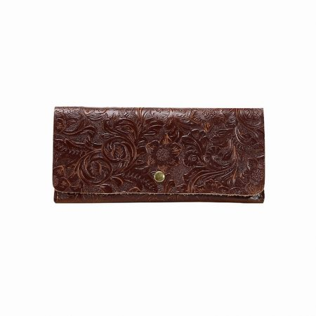 Vintage Embossed Flowers Long Leather Purse Clutch Coin Purse Card Holder-Front