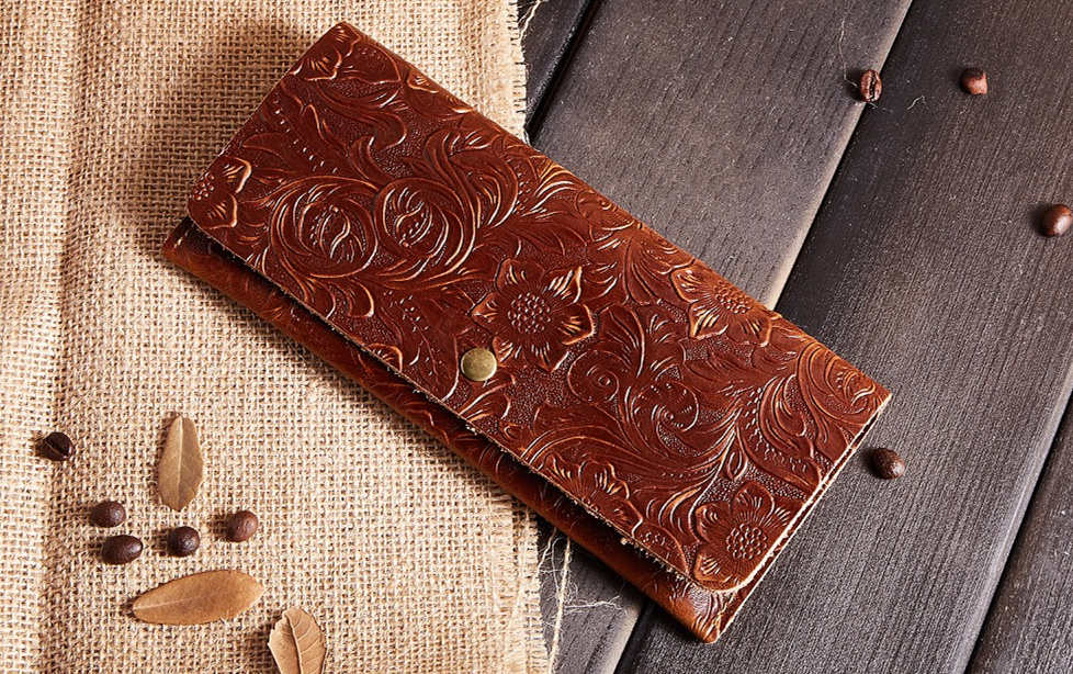 Vintage Embossed Flowers Long Leather Purse Clutch Coin