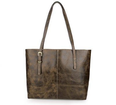 Vintage Leather Tote Bag-Back