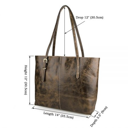 Vintage Leather Tote Bag-Size