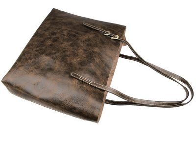 Vintage Leather Tote Bag-Top