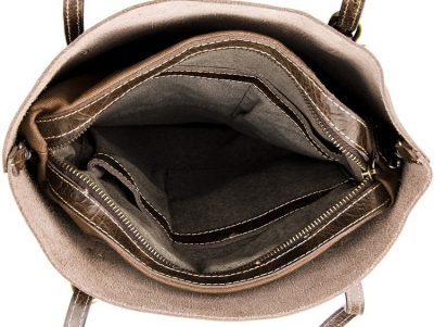 Vintage Leather Tote Shoulder Bag-Inside