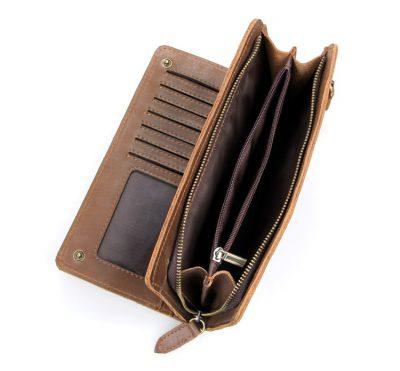 Vintage Style Leather Clutch, Leather Wallet-Inside Pocket