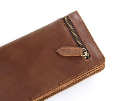 Vintage Style Leather Clutch, Leather Wallet-Zipper