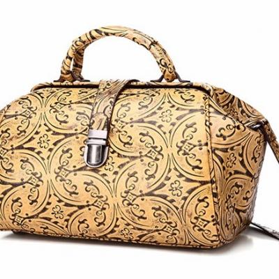 Yellow Embossed Leather Handbag-Left