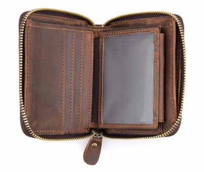 Zipper Around Leather Wallet Leather Coin Pocket-Details