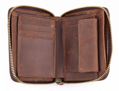 Zipper Around Leather Wallet Leather Coin Pocket-Inside