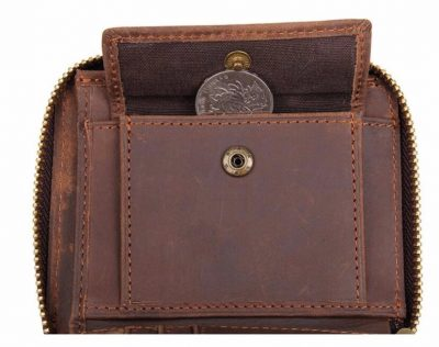 Zipper Around Leather Wallet Leather Coin Pocket-Inside button