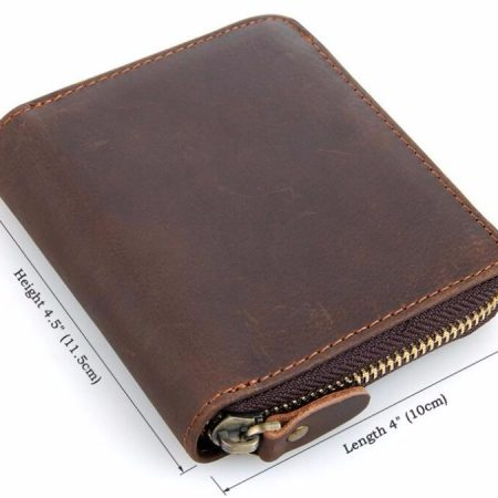 Zipper Around Leather Wallet Leather Coin Pocket-Size