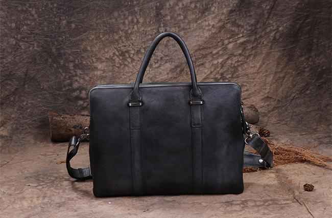 black businessmen leather briefcase