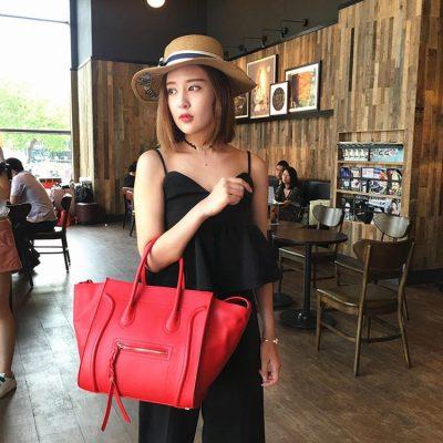 black dress collocation leather handbags