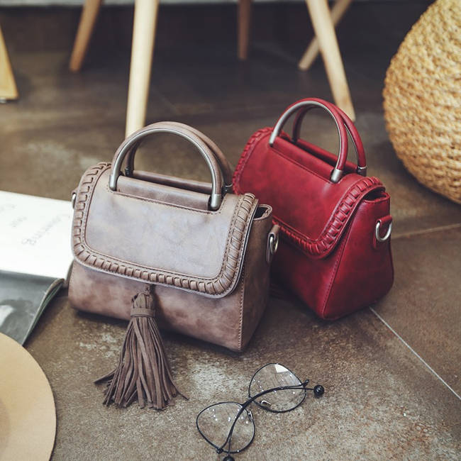 delicate leather handbag