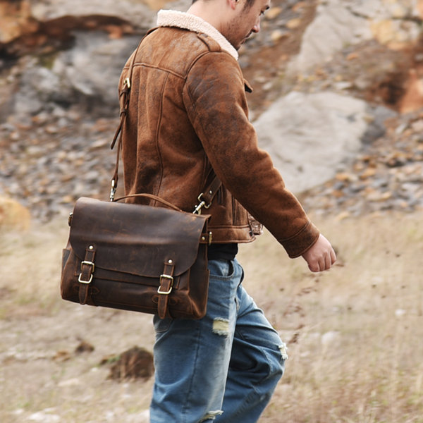 vintage leather messenger bag for men