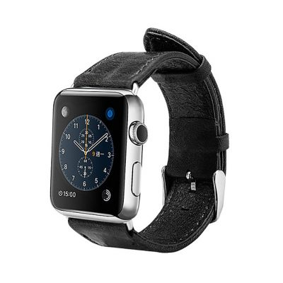 Black Leather Apple Watch Band 38mm 42mm