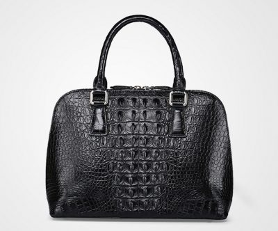 Black Classic Genuine Crocodile Handbag-Back