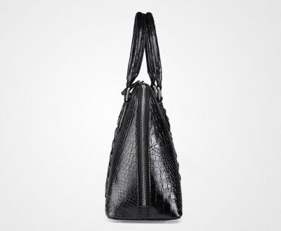 Black Classic Genuine Crocodile Handbag-Side